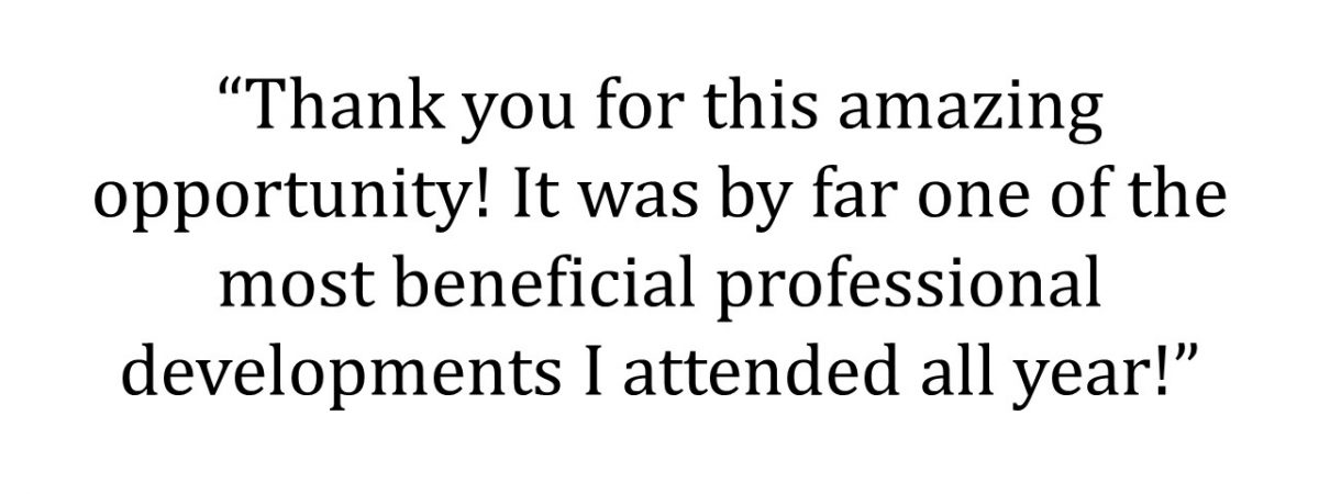 Thank you!...by far one of the most beneficial professional developments I attended all year!